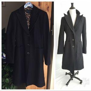 Banana Republic Black Wool Pea Coat, Size Medium